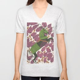 War horse in a field of lupines Unisex V-Neck