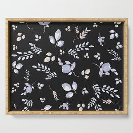Spring watercolor leaves & tulips on charcoal background Serving Tray