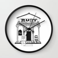 general Wall Clocks featuring General Store by Mrs. Ciccoricco