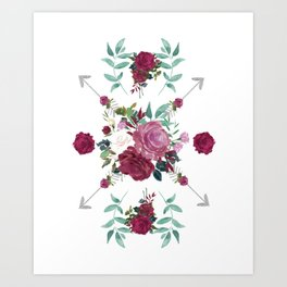 Floral Pattern with Arrows Art Print