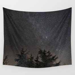 Andromeda Galaxy, Perseus and milkyway over the forest in the mountains Wall Tapestry