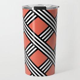 Pantone Living Coral, Black & White Diagonal Stripes Lattice Pattern Travel Mug