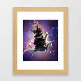 Cat Riding Chicken Turtle Panda Llama Unicorn Framed Art Print