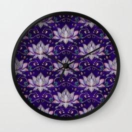 Lotus flower pattern - Fluorite and Amethyst Wall Clock