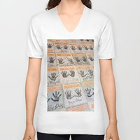 hollywood V-neck T-shirts featuring Hollywood hands by Mauricio Santana
