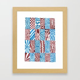 Checkerboard, Blue/Red Abstract (Ink Drawing) Framed Art Print