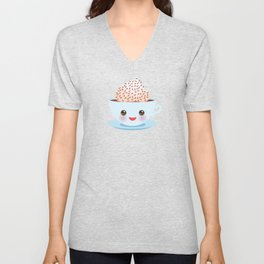 Cute blue pink green Kawai cup, coffee tea with pink cheeks and winking eyes, polka dot background Unisex V-Neck