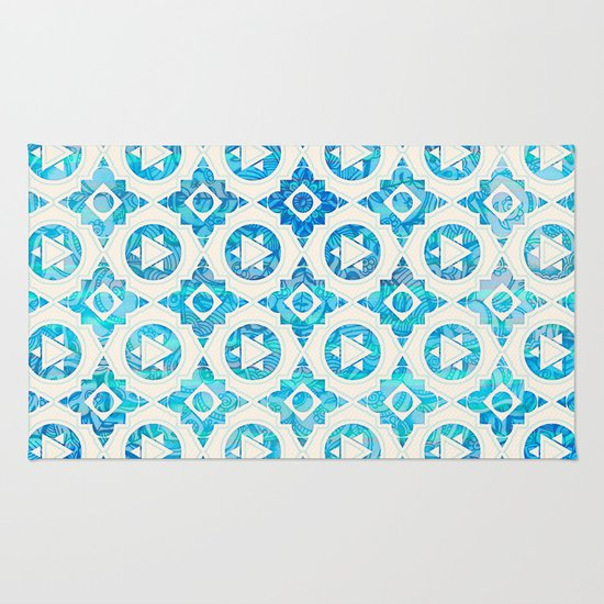 Aqua Blue & Off White Geometric Pattern Rug By Micklyn
