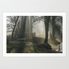 Sunlight through mist and fog over an old wooden footbridge. Norfolk, UK. Art Print