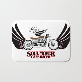 Retro Cafe Racer Soul Mover logo Bath Mat