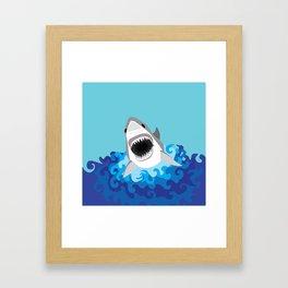Great White Shark Attack Framed Art Print