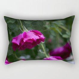 Pink Rose with Dew Drops Rectangular Pillow
