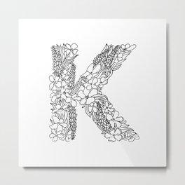 Floral Type - Letter K Metal Print