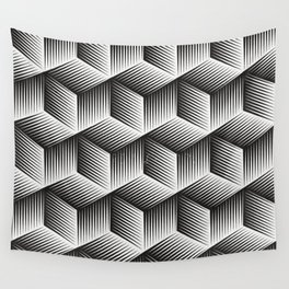 Black And White cuber Wall Tapestry