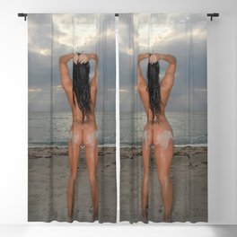 9524-SS Naked Woman Nude Beach Sand Surf Sandy Handprint Big Breasts Long Black Hair Sexy Erotic Art Blackout Curtain