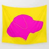 labrador Wall Tapestries featuring LABRADOR PINK ON YELLOW by Moni & Dog