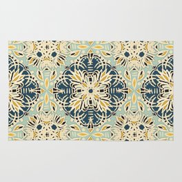 Protea Pattern in Deep Teal, Cream, Sage Green & Yellow Ochre  Rug