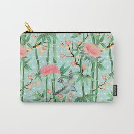 Bamboo, Birds and Blossom - soft blue green Carry-All Pouch