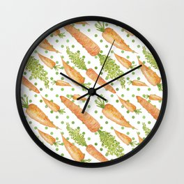 Carrots on Dotted Green Backgrond Watercolor Wall Clock