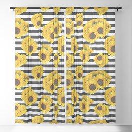 yellow sunflower black white stripes print summer floral  Sheer Curtain