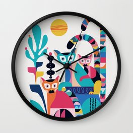Lemur family Wall Clock
