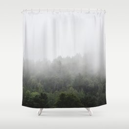 Foggy Forest Mist Landscape Photography | Woods | Nature | Travel | Rustic Shower Curtain