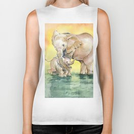 Colorful Mother's Love - Elephant Biker Tank