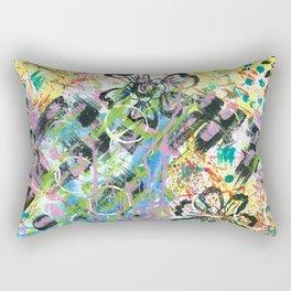 Yellow & Blue Mixed Media Rectangular Pillow