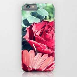 Floral composition with one Eucalyptus one Gerbera and Rose flower iPhone Case