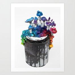 Arc, Rainbow Mushrooms on Paint Can Art Print