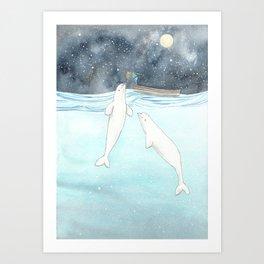 Beluga love Art Print