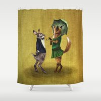 hare Shower Curtains featuring Fox and Hare by Anna Shell