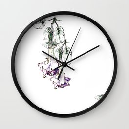 Illustrated Moonflower in Purple and Green Wall Clock