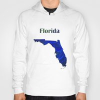 florida Hoodies featuring Florida Map by Roger Wedegis