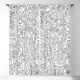 Graffiti Black and White Pattern Doodle Hand Designed Scan Blackout Curtain