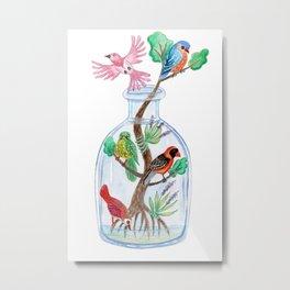 Birds in a Bottle Watercolor Painting Metal Print