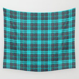 Lunchbox Blue Plaid Wall Tapestry