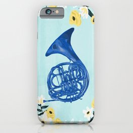 Blue French Horn iPhone Case