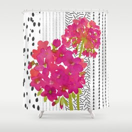 Vibrant Pink Geranium on Black and White Geometric Ground Shower Curtain