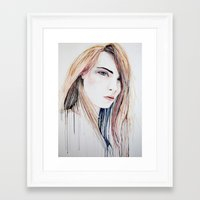 cara delevingne Framed Art Prints featuring Cara Delevingne by Lenas 9th Art