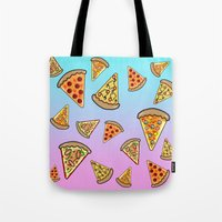 pizza Tote Bags featuring PIZZA by SteffiMetal