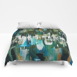 Acrylic Blue, Green and Gold Abstract Painting Comforters