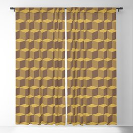 Brown Cubes Blackout Curtain