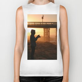 Photographer At Sunset Biker Tank