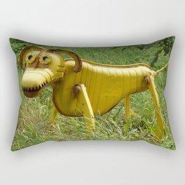 Robot Dog walk Yellow Metal Pet Funny recycling sculpture Trash Art Outdoor photography Rectangular Pillow