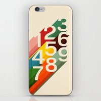 numbers iPhone & iPod Skins featuring Retro Numbers by Picomodi