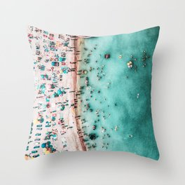 Aerial Beach Print, Large Printable Ocean Waves Wall Art, Teal Coastal Decor, Beach With People Throw Pillow