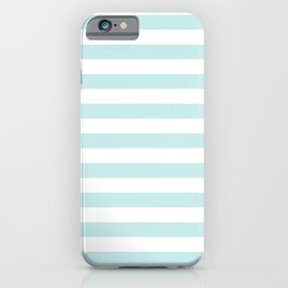 Duck Egg Pale Aqua Blue and White Wide Horizontal Beach Hut Stripe iPhone Case