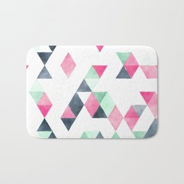 Geometrical pink mint green white gray watercolor Bath Mat