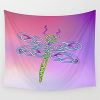 dragonfly Wall Tapestries featuring Dragonfly by Knot Your World